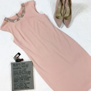 Pink Tahari Midi Dress with Jeweled Collar Size 6